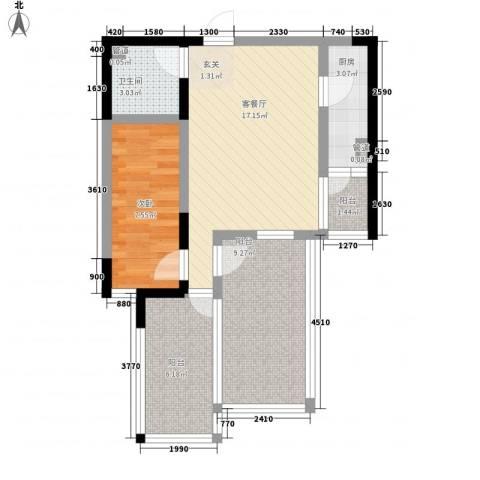 颐青园1室1厅1卫1厨72.00㎡户型图
