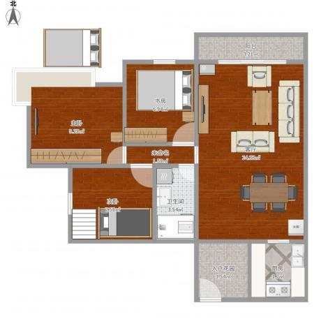 东方丽都3室1厅1卫1厨89.00㎡户型图