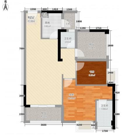 卓越东部蔚蓝海岸2室1厅2卫1厨88.00㎡户型图