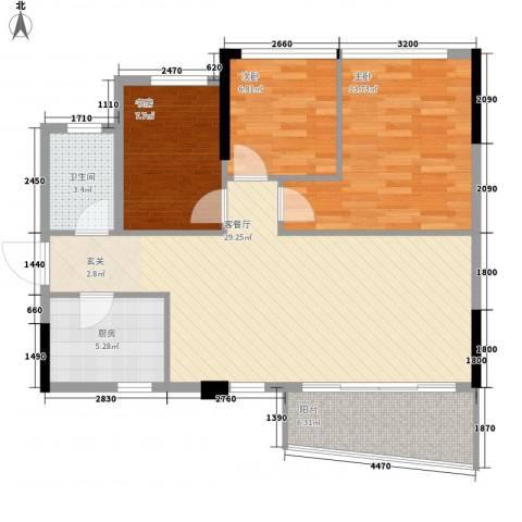 金茂华庭3室1厅1卫1厨72.48㎡户型图