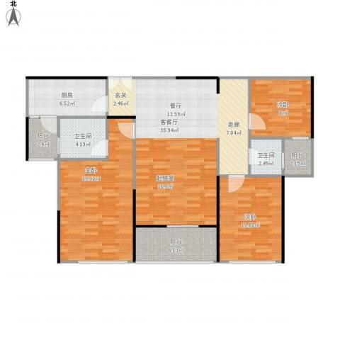 嘉福尚江尊品3室1厅2卫1厨133.00㎡户型图