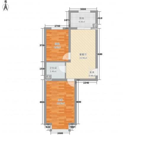 山水文园2室1厅1卫1厨70.00㎡户型图
