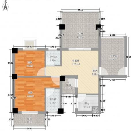 乐活小镇2室1厅2卫1厨87.00㎡户型图