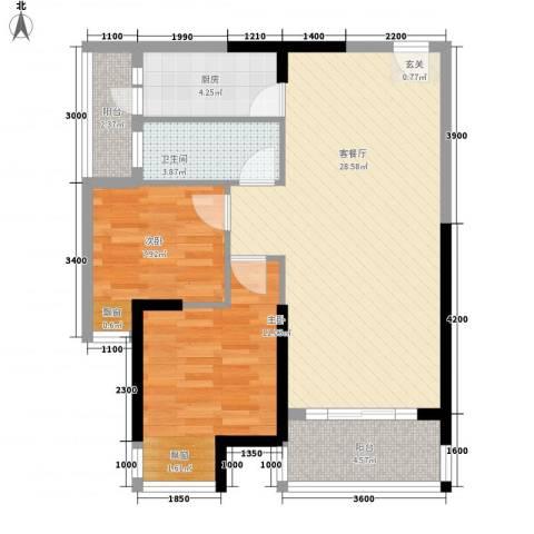 光耀・橙子2室1厅1卫1厨78.00㎡户型图