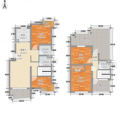 上大阳光乾静园4室1厅3卫1厨155.00㎡户型图