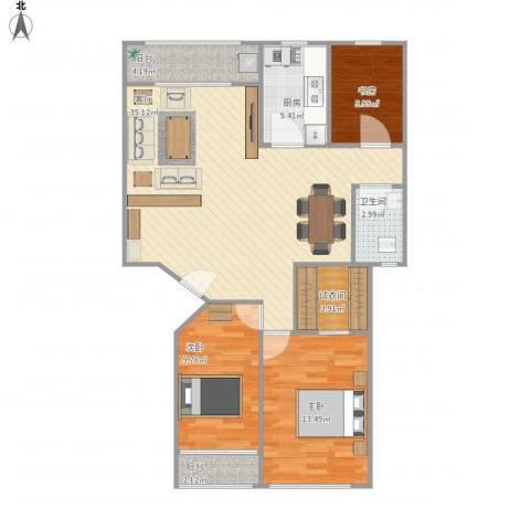 顺德区东升楼3室1厅1卫1厨112.00㎡户型图