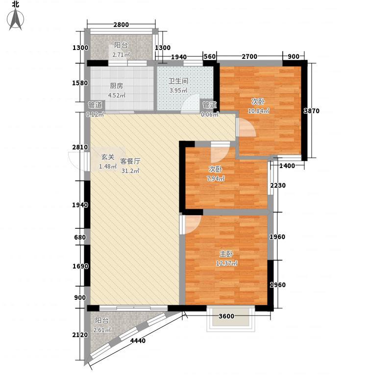 碧桂园十里银滩海景洋房2号楼F2户型3室1厅1卫1厨