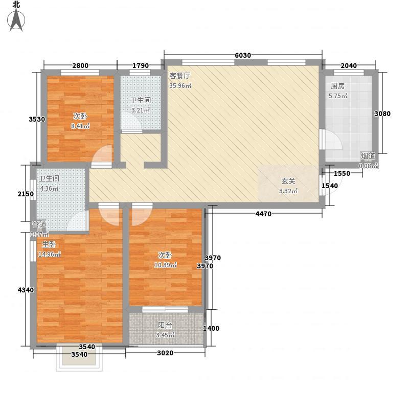 东和新城124.00㎡4#户型3室2厅2卫1厨