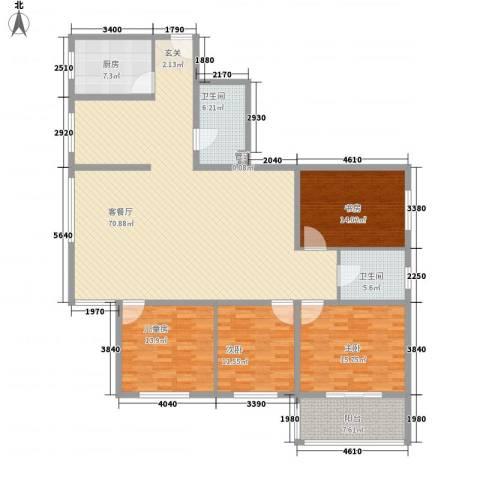 金地苑4室1厅2卫1厨158.00㎡户型图