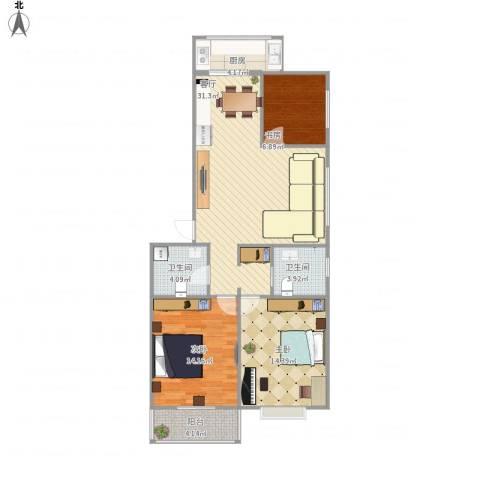 华新园3室1厅2卫1厨119.00㎡户型图