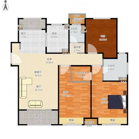 保利天琴宇3室1厅2卫1厨170.00㎡户型图