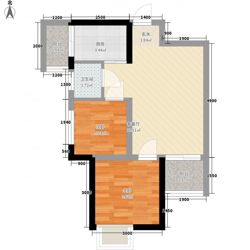 荣城・祥和名邸58.20㎡7#楼C户型2室2厅1卫1厨