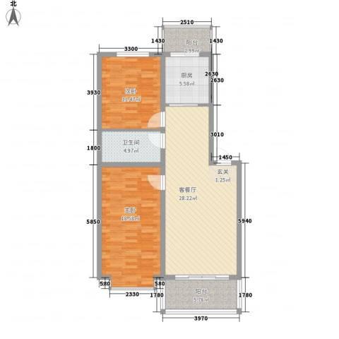 山水文园2室1厅1卫1厨110.00㎡户型图