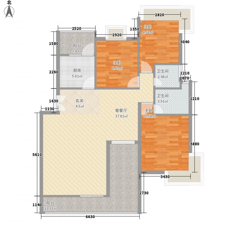 水逸康桥134.56㎡A4户型3室2厅2卫1厨
