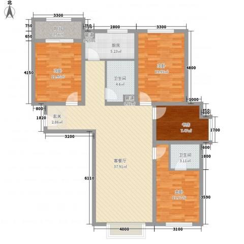 植物园宿舍4室1厅2卫1厨143.00㎡户型图