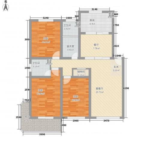 荣耀花园3室3厅2卫1厨131.00㎡户型图