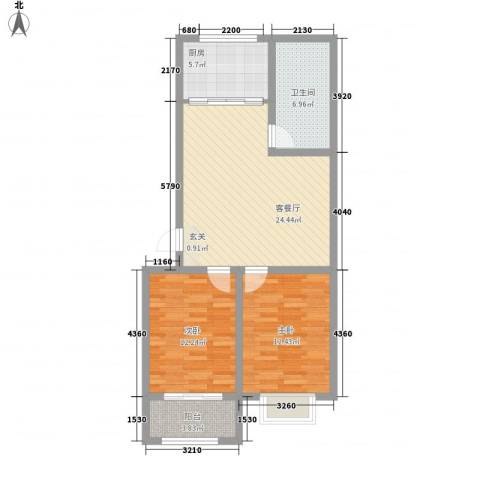 银枫家园2室1厅1卫1厨88.00㎡户型图