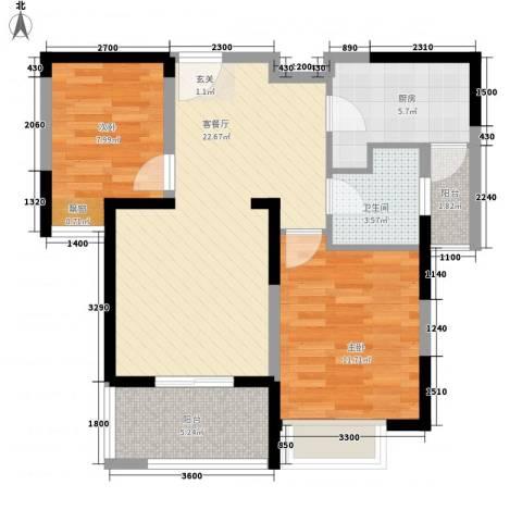 上城国际2室1厅1卫1厨85.00㎡户型图