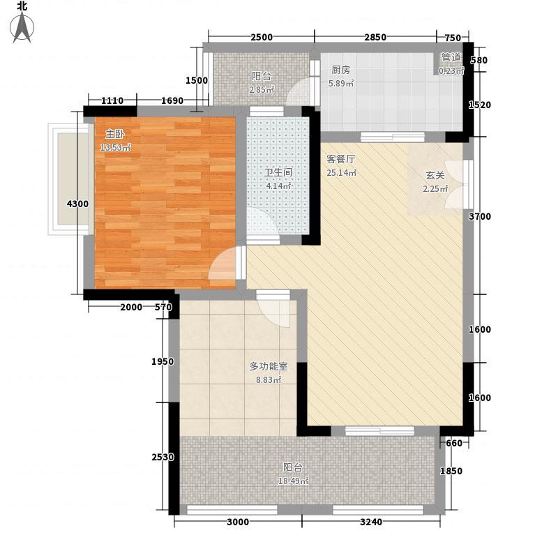 中渝梧桐郡梧桐公馆68.00㎡一期C2号楼标准层户型2室2厅1卫1厨