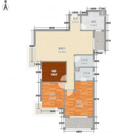 汉口春天3室1厅2卫1厨122.00㎡户型图