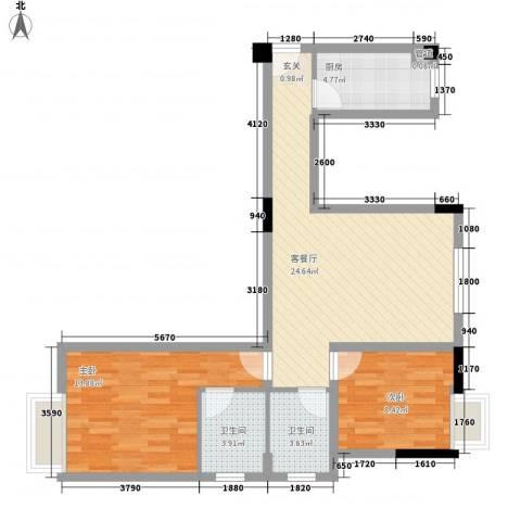 凯城花园2室1厅2卫1厨87.00㎡户型图