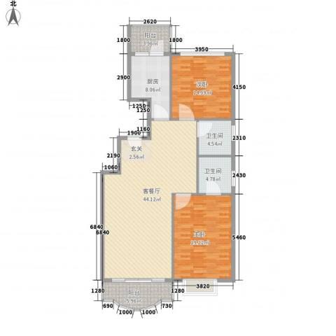 通达世家2室1厅2卫1厨145.00㎡户型图
