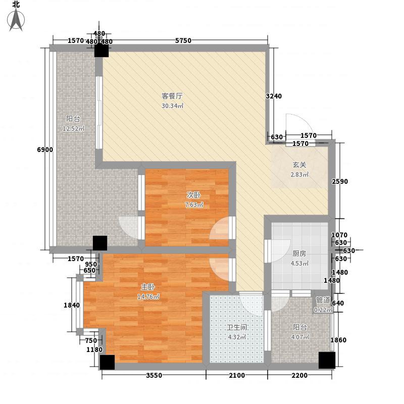 琵琶花园3户型2室2厅1卫1厨