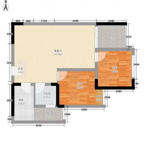 侨鑫公寓2室1厅1卫1厨85.00㎡户型图