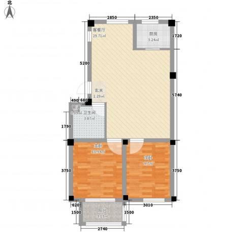 颐青园2室1厅1卫1厨87.00㎡户型图