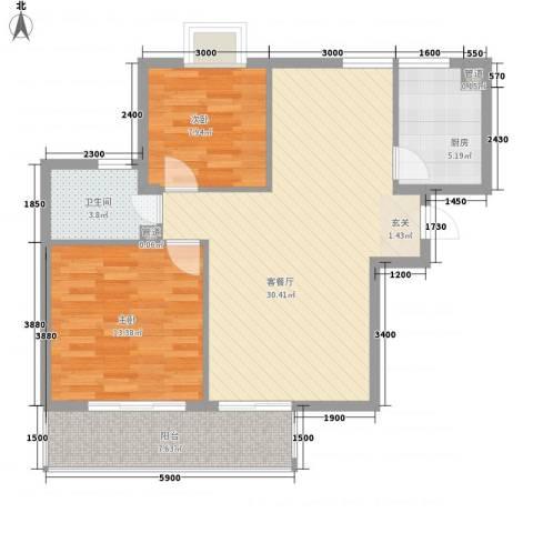 汉口春天2室1厅1卫1厨96.00㎡户型图