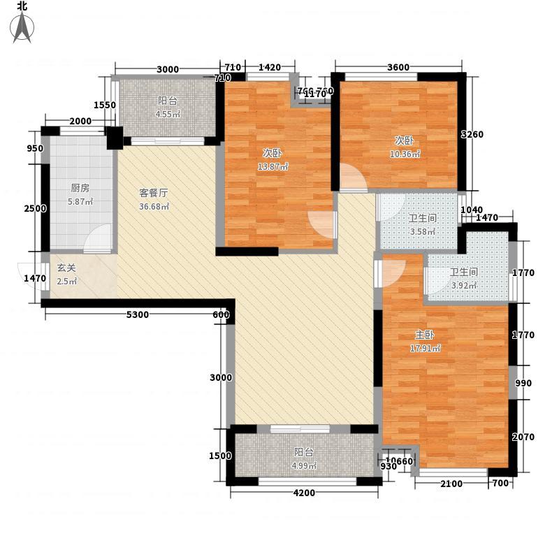 维佳武昌府二期和郡3室1厅2卫1厨131.00㎡户型图