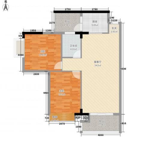建安广场(塘厦)2室1厅1卫1厨116.00㎡户型图