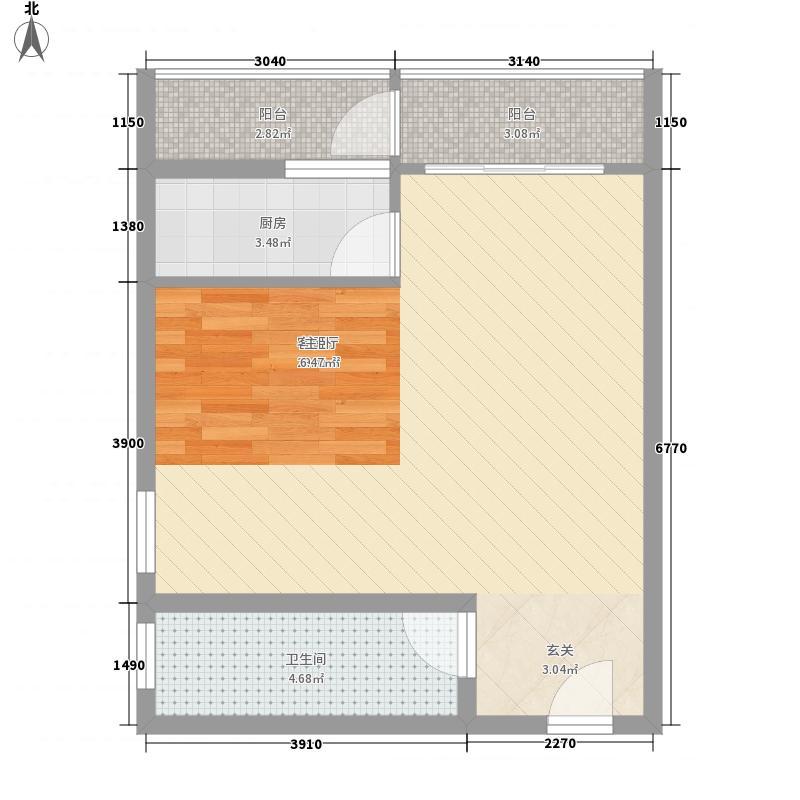 升龙国际中心61.80㎡6号地1号楼A户型1室1厅1卫1厨