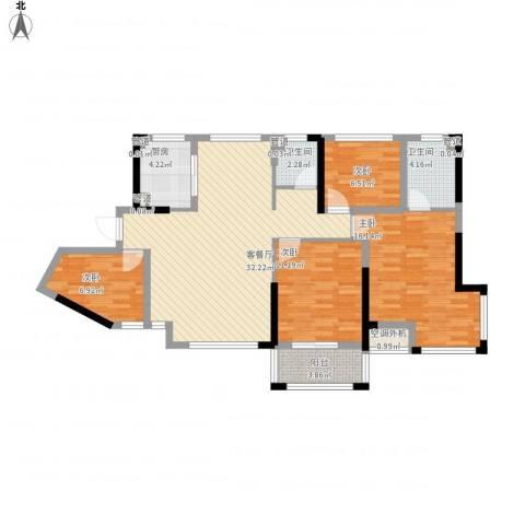 维一星城4室1厅2卫1厨128.00㎡户型图