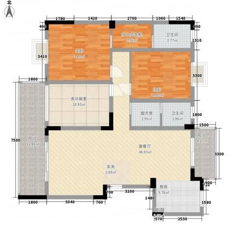 昌隆花园2室2厅2卫0厨161.00㎡户型图