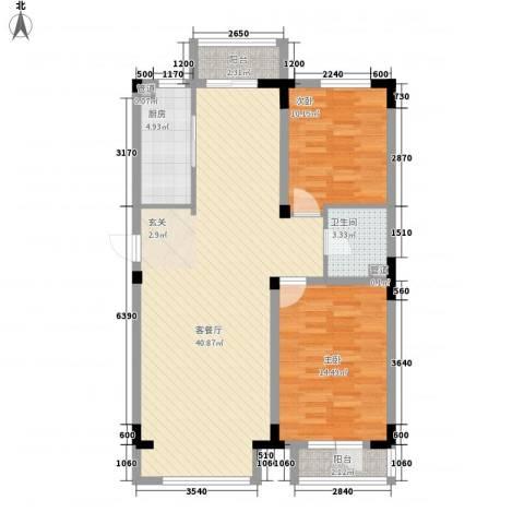 半山洋房2室1厅1卫1厨78.38㎡户型图