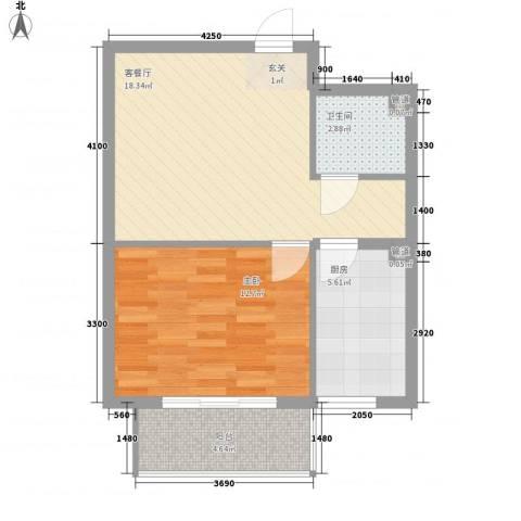 居美颐园1室1厅1卫1厨44.28㎡户型图