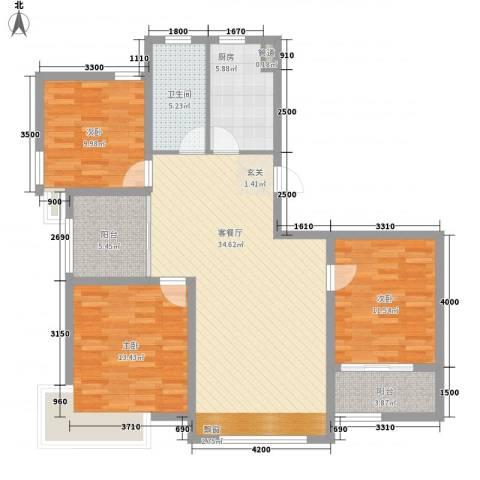 星尚国际公寓3室1厅1卫1厨123.00㎡户型图