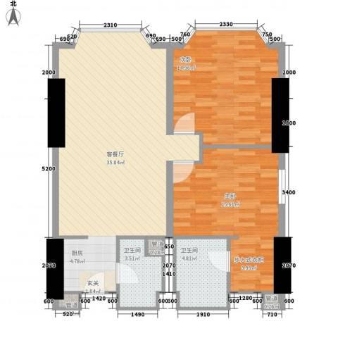 皇爵国际公馆2室1厅2卫0厨74.31㎡户型图