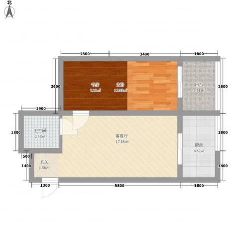 巧克力公寓1室1厅1卫1厨67.00㎡户型图