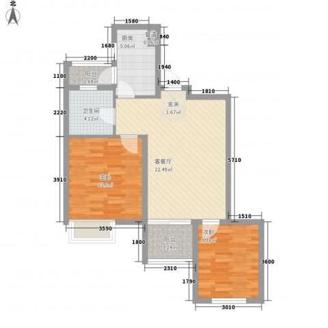星尚国际公寓2室1厅1卫1厨84.00㎡户型图