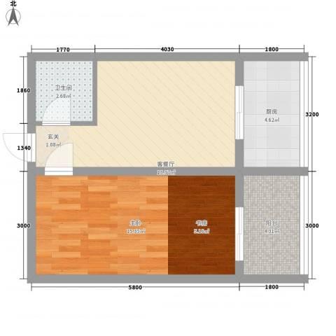 巧克力公寓1室1厅1卫1厨63.00㎡户型图