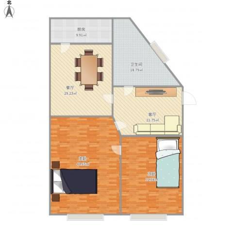 绿苑亚泰2室2厅1卫1厨204.00㎡户型图