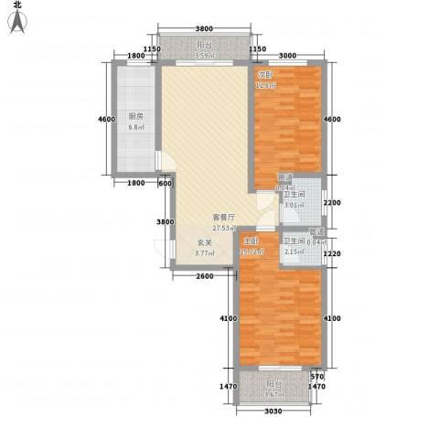 居美颐园2室1厅2卫1厨75.36㎡户型图