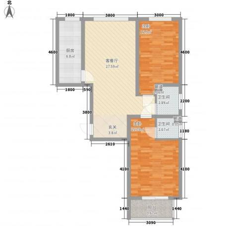 居美颐园2室1厅2卫1厨71.82㎡户型图