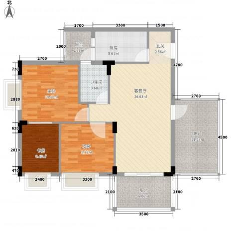 大信新家园3室1厅1卫1厨83.79㎡户型图