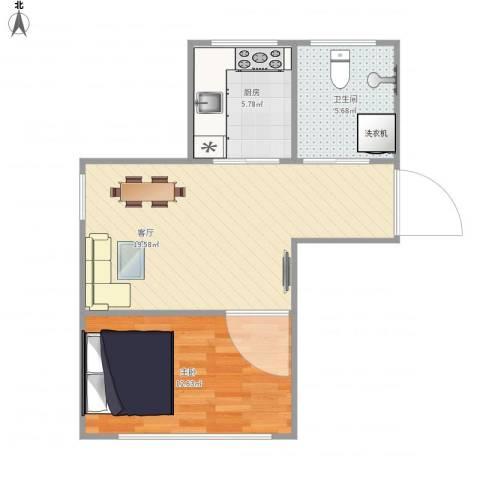 友好园1室1厅1卫1厨59.00㎡户型图
