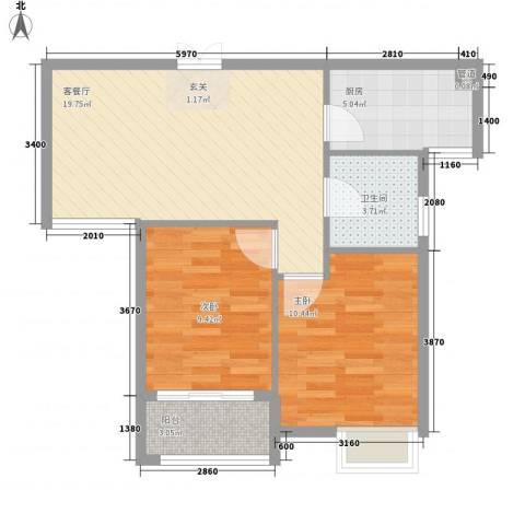 上城国际2室1厅1卫1厨72.00㎡户型图