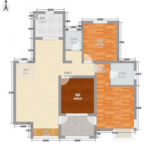 星尚国际公寓3室1厅2卫1厨90.89㎡户型图
