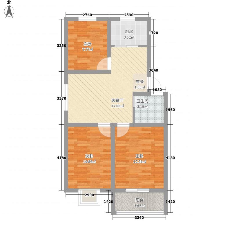 枫渡柏林86.00㎡D户型3室2厅1卫1厨